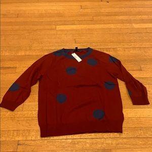 NWT jcrew red/blue polka dot merino wool sweater